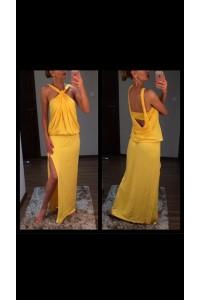 Yesstory maxi ruha sárga csavart