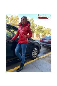 Missq kabát prémes piros rövid