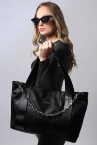 AMNESIA Láncos nagy táska fényes fekete