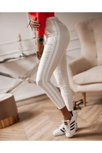 Ola Voga Bőrhatású nadrág fehér oldalt csíkos