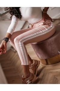 Ola Voga Bőrhatású nadrág rózsaszín oldalt csíkos