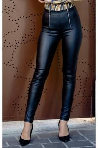 Blue Nature Magasított derekú elöl cipzáros bőr hatású nadrág