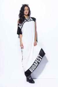 3f799ab46743 Amnesia Filmnyomott féloldalas ruha fehér