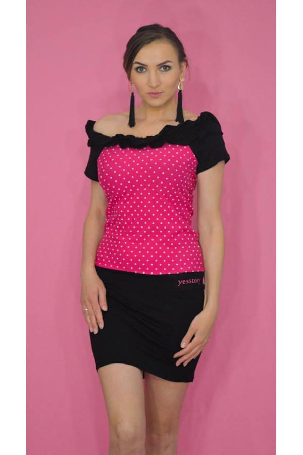 Yesstory fodros ruha fekete-pink