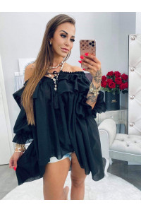 Lola Bianca Black Loose Summer tunika