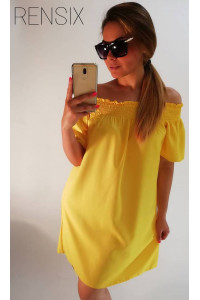 Rensix citromsárga gumis vállú ruha