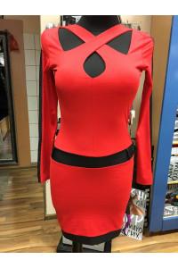 Rensix keresztpántos ruha piros színben