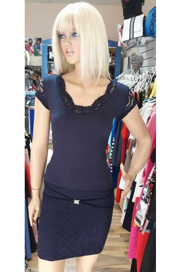 46b3743107 Rucy Fashion sötétkék csipke aljú ruha