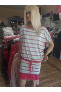 Rucy Fashion csíkos tunika pink aljú kötős