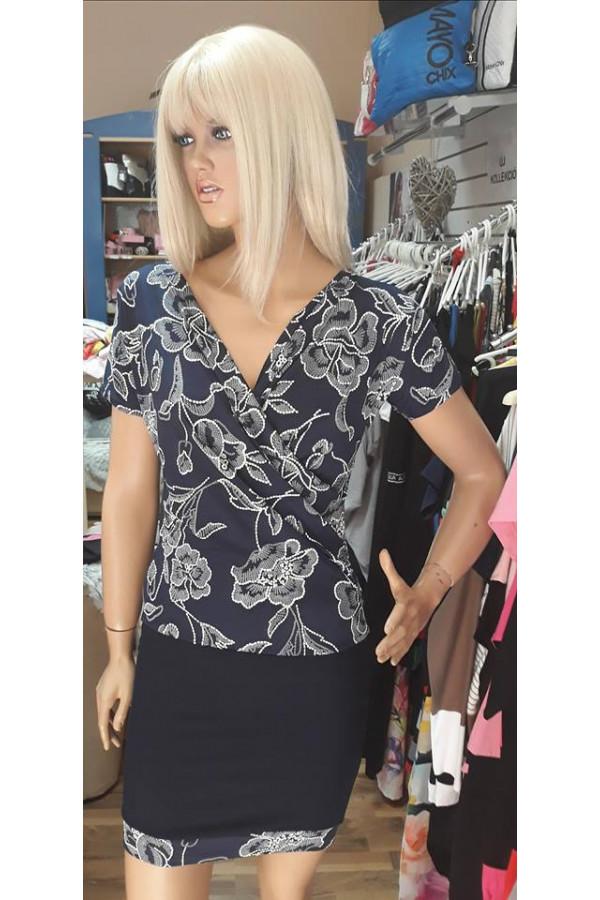 Rucy Fashion virágos sötétkék ruha baa076ddb3
