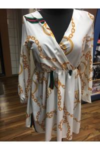 Fehér ruha láncos mintával