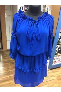 Muszlin ruha királykék színben