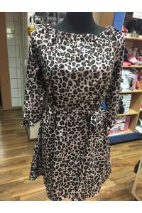 Leopárd mintás ruha övvel