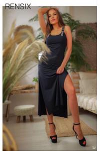 Rensix pántos fekete maxi ruha