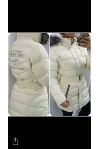 Naomi télikabát kapucnis fehér színben