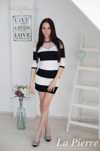 La Pierre Shelly ruha fekete fehér necc betétes