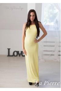 La Pierre Odyn maxi ruha sárga színben pántos hátú
