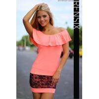 Rensix fodros ruha narancssárga színben fekete csipkés