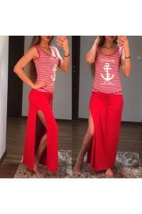 Yesstory maxi ruha piros fehér