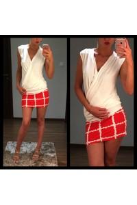 Yesstory ruha átlapolt fehér piros